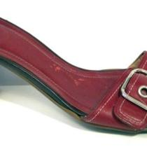 Coach Red Leather Slide Sandal Size 8b Photo
