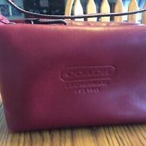 Coach Red Leather Small Top Zipper Handle Bag Handbag Purse F40572 Very Nice Photo