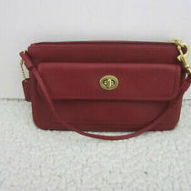 Coach Red Leather Top Zip Mini Wristlet/ Wallet/ Bag / Turn Lock  Pocket . Photo