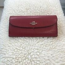 Coach Red Leather Wallet Beautiful Photo