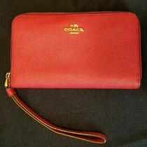 Coach Red Leather Wristlet Wallet Clutch Bag Photo