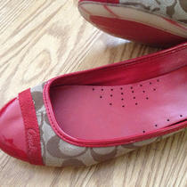 Coach Red Patent Signature Flats Shoes Sz 8 Nice Euc Photo