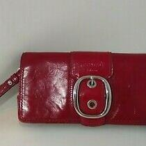Coach Red Patent Wristlet Clutch Purse  Photo