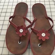 Coach Red Sandals With a Red/ White Flower the C Pattern Embossed on the Insole Photo