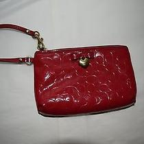 Coach Red Signature C Embossed Patent Leather Clutch With Gold Heart & Red Bow Photo