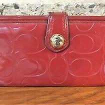Coach Red Signature Embossed Wallet Card Case Bifold Logo Snap Handbag Purse Bag Photo