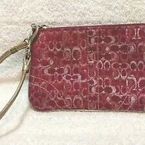 Coach Red Silver Highlight Wristlet Signature Small Bag Change Purse Great Shape Photo