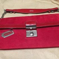 Coach Red Suede Limited Edition Holiday Clutch With Chain Handle Rare Photo