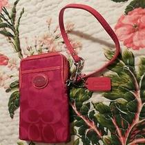 Coach Red Wristlet Euc - Picture Is Off It Is