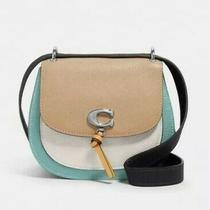 Coach Remi 1330 Saddle Bag Colorblock Leather Taupe Blue Handbag Purse Nwt Photo