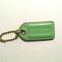 Coach Replacement Hangtag Hang Tag Fob Key Ring Green With Brass Chain Photo