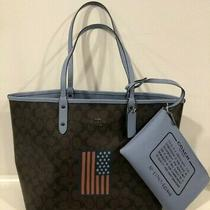Coach Reversible City Tote Brown Signature C With Flag & Wristlet F25949 375  Photo