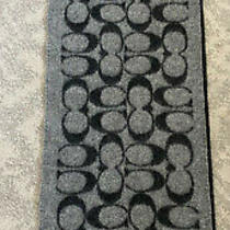 Coach Reversible Wool Scarf Wrap Cc Logo Pattern in Black & Grey Photo