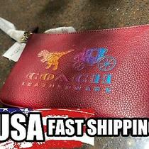 Coach Rexy and Carriage Deep Red/gold Wristlet Photo