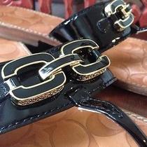 Coach Riah Black Patent Leather Sandals Women 7 B Beautiful Photo