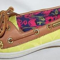 Coach Richelle Signature 6.5 New Flats Womens Boat Shoes Citrine Ginger A0449 Photo