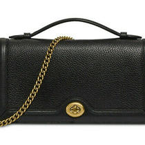 Coach Riley Chain Clutch Leather Crossbody Wallet on Chain Woc Nwt Black 69969 Photo