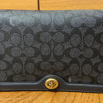 Coach Riley Signature Logo Bag Crossbody Clutch in Charcoal/midnight Navy/brass Photo