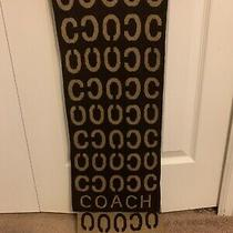Coach Riversible Knit Scarf Brown Coffee Colors Monogrammed Cozy Mint Condition Photo