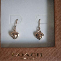 Coach Rose Gold Heart Turnlock Earings Photo