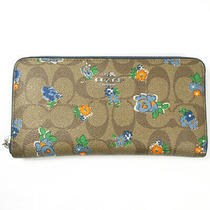 Coach Round Fastener Wallet Long F56496 Brown System Blue Floral Print Photo