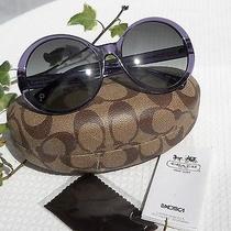Coach Round Purple Patty Sunglasses Signatusre Logo Case Cloth Key Fob Hang Tag Photo