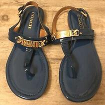 Coach Royal Blue Leather Gold Hardware Sandals Flats 7 Photo