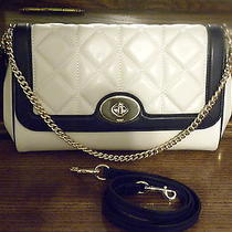 Coach Ruby in Chalk/midnight F37723 Quilted Flap Calf Leather Crossbody Clutch  Photo