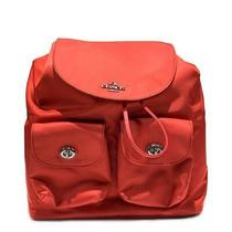 Coach Rucksack Backpack Drawstring Bag F58814 Nylon Leather Red Ladies  Photo