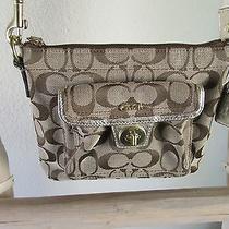 Coach S Slim Khaki Signature Jacquard Golden Leather Trim Messenger Bag Photo