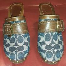 Coach Sable Blue Denim Signature Heels Clogs Mules 8.5 Shoes-Pre Owned Photo