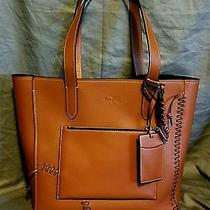 Coach Saddle Brown Leather Tote Rip and Repair Photo