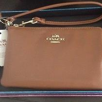 Coach Saddle Smooth Leather Corner Zip Wristlet Fits Iphone/android Photo
