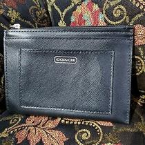 Coach Saffiano Leather Mini Skinny Id Card Case Key Ring Nwot Photo