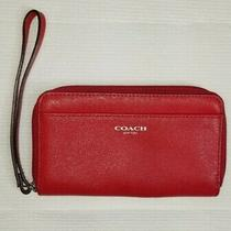 Coach Saffiano Red Vermillion Leather Wristlet Clutch Photo