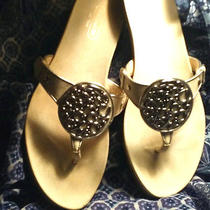Coach Sandals  - Ivory With Silver Coach Logo - 6 1/2 Photo