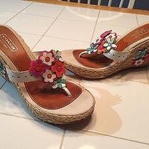 Coach Sandals Jesica Foral Wedge Slide Women's Size 8b Patent Leather Photo