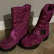 Coach Sandi Pink  Buckle Quilted Snow Winter Boots 8m Vibram Pull On Photo