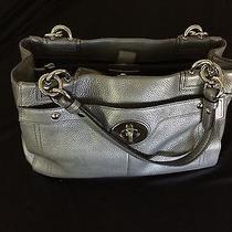 Coach Satchel 12x8.5x4.25 Leather Metallic Silver Bag Photo