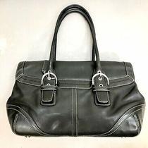 Coach Satchel Hampton Soho Handbag Purse Vintage 9636 Black Leather Flap Photo
