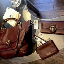 Coach Satchel Handbag Bordeaux Leather & Matching Wallet & Matching Wristlet  Photo