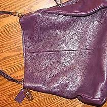 Coach Satchel Handbag Pebble Leather Plum Purple Photo