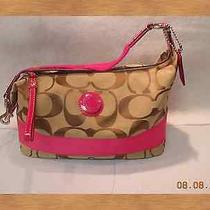 Coach Satchel Handbag Pocketbook Khaki Pink Photo