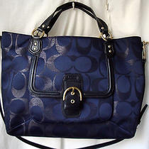 Coach Satchel Signature Metallic Midnight Campbell Izzy Nwt 26241 Photo