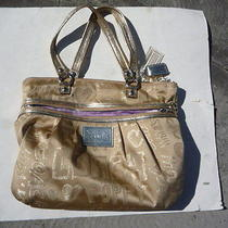Coach Satin-Like  Cloth Tote Handbag Pocketbook Excellent Cosmetic Condition Photo