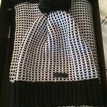 Coach Scarf and Hat Set Black & White Tricolor Gift Box Included Photo