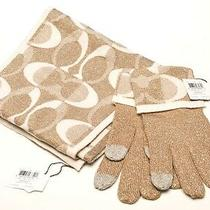 Coach Scarf & Gloves Khaki (Gold) & Silver Metallic Wool Blend Womens Set New Photo