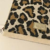 Coach Scarf Leopard Wool Angora Cashmere Scarf New Photo