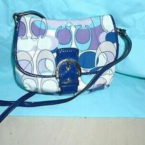 Coach Scarf Print Flap Purple Blue Crossbody Shoulder Bag  46884 Photo