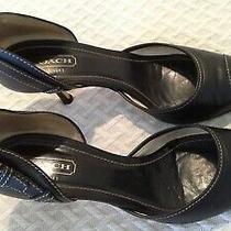 Coach Scarlett Size 9.5 B Women's Black Leather High Heel Pump Shoes Italy Photo